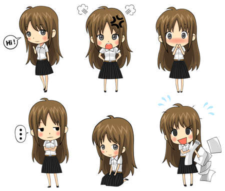 school girl uniform: Cute Thai college student emotional icon set, create by vector