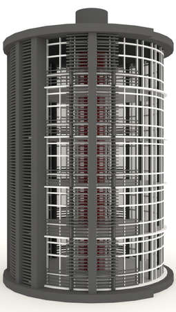 simulation: 3D energy building exterior in white background  It is design to look like empty battery level