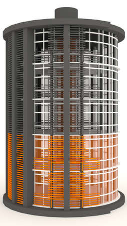 simulation: 3D energy building exterior in white background  It is design to look like medium battery level    Stock Photo