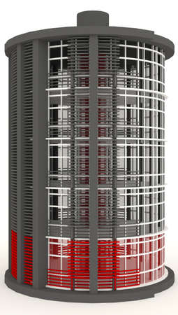simulation: 3D energy building exterior in white background  It is design to look like low battery level    Stock Photo