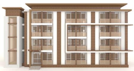 wooden houses: Wooden office building exterior design in white background, create by 3D