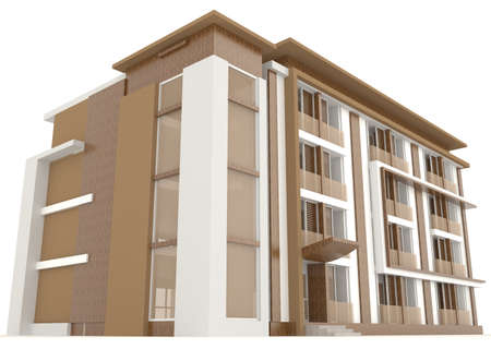 Side of wooden office building exterior design in white background, create by 3D photo