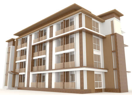 simulation: Side of wooden office building exterior design in white background, create by 3D