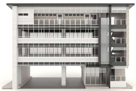 3D modern office building architecture exterior design in white background, create by 3D photo
