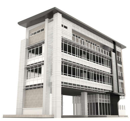 Side of 3D modern office building architecture exterior design in white background 2, create by 3D photo