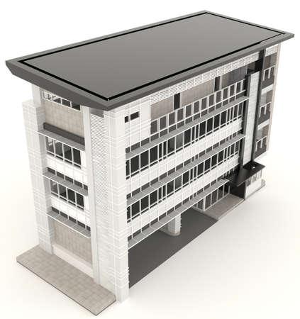 Top van 3D modern kantoorgebouw architectuur exterieur design in een witte achtergrond, maken door 3D Stockfoto