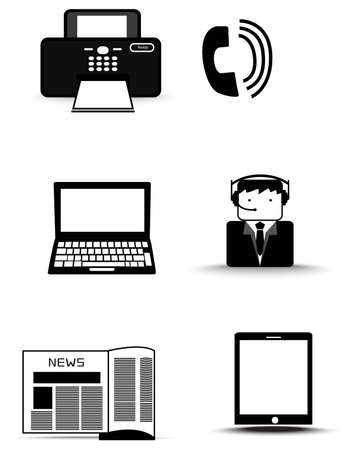 print media: Silhouette office information technology supply icon set, create by vector