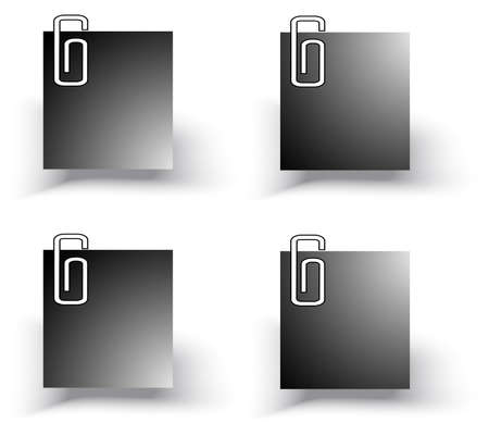 office paper: Silhouette office paper notepad on the wall icon set, create by vector