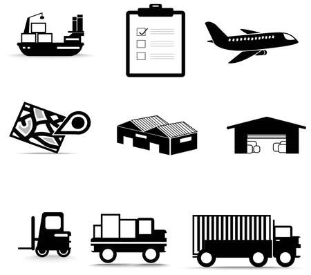 inventory: Silhouette logistic and transportation icon collection set, create by vector