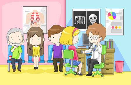 hospital caricatura: El doctor est� examinando grupo de ni�os con el estetoscopio en el hospital, crear por el vector Vectores