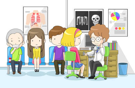kid doctor: Doctor is examining group of children with stethoscope in hospital, create by vector Illustration