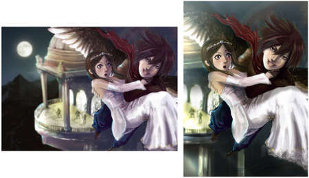 A fantasy illustration of a wing man stealing the princess out of the castle illustration