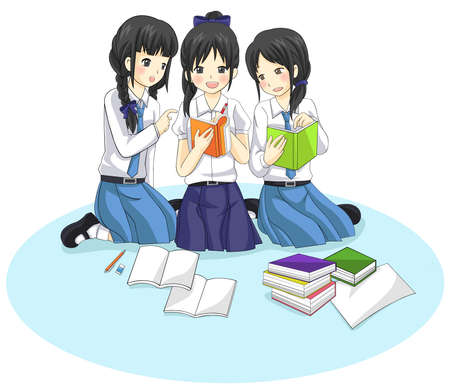 Group of Thai students from different school are working and studying together in isolated background  Vector