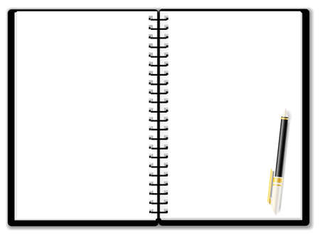 Usable notepad background woth ballpoint pen Vector
