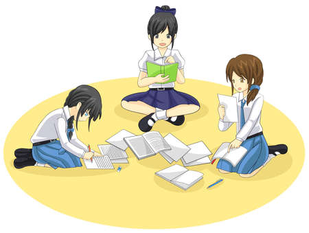 Group of Thai students from different school are studying together in isolated  Vector