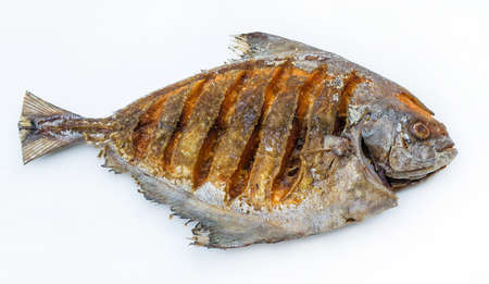 Asian style deep fried pomfret in white isolated  photo