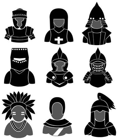 mongol: Silhouette ancient warrior icon collection set, create by vector