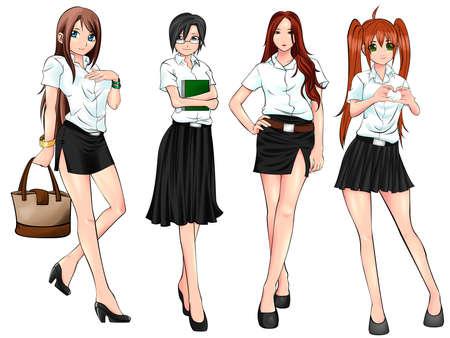 prostituta: Estudiante de la universidad tailandesa en diferentes conjunto de recopilación uniforme Vectores