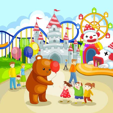 dream: 遊樂園在暑假的孩子 向量圖像