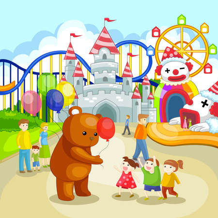 Amusement park for children in summer holiday Illustration