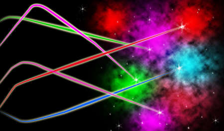 space wars: Abstract graphic of colorful light beam shooting in dark black space Stock Photo