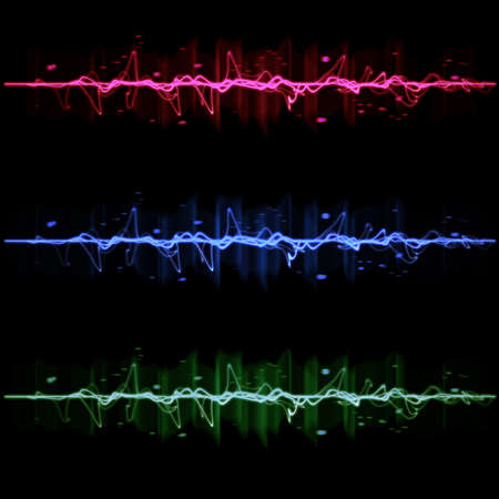 Electric wave pulse collection set, in blue, red, and green photo