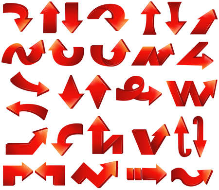 bending forward: Type of various red arrow set 2, create by vector Illustration