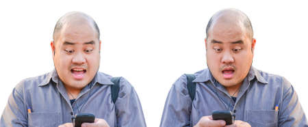 An office guy receive a message via smartphone  photo