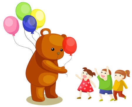 Costume bear giving colorful balloons to the children, create by vector Vector