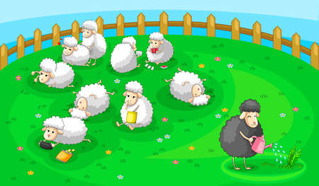 Good black sheep in spoil white sheep herd   Vector