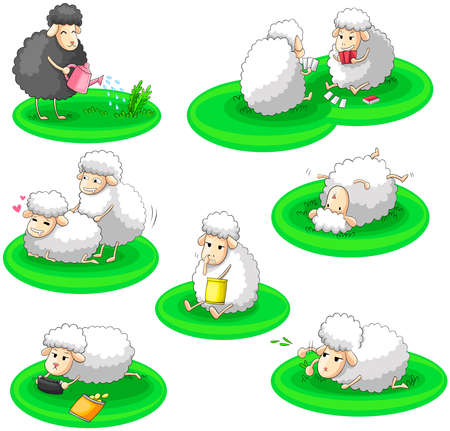 Black and white sheep activity collection set Vector