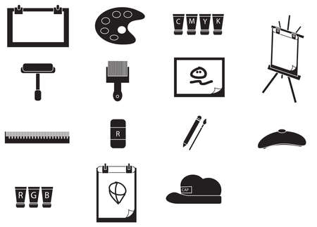 Silhouette artist painting tools icon set Vector