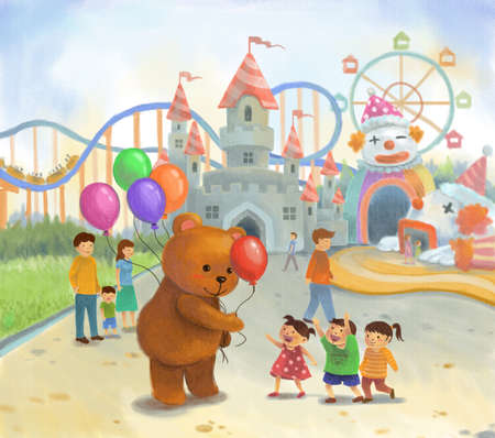 theme park: Amusement park for children in summer holiday in pastel color on canvas style