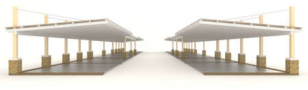 carpark: Outdoor carpark roofing in side view, create by 3D