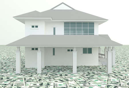 bank interior: White modern 3D house on the pile of money in isolated background.