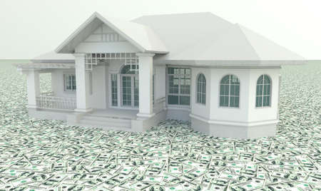 wealthy: White 3D vintage house on the pile of money in isolated background.