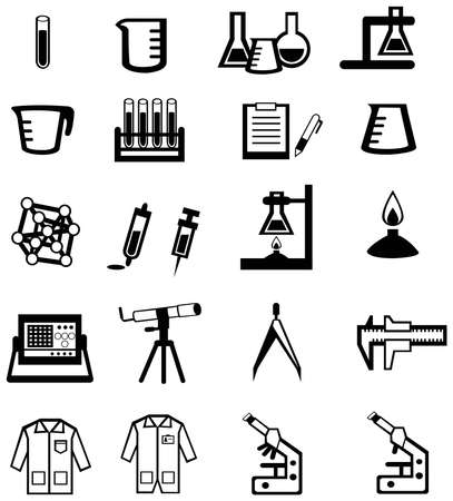 Silhouette science, chemistry, and engineering tool icon set Illustration