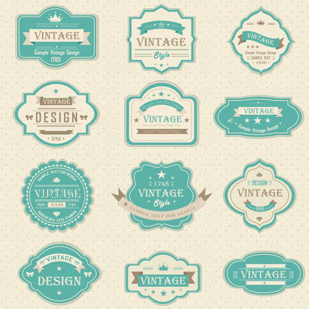 Blue vintage and retro badges design with sample text, create by vector