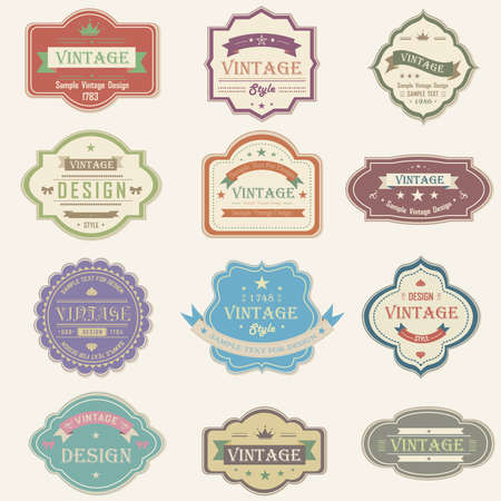 Colorful vintage and retro badges design with sample text, create by vector Vector