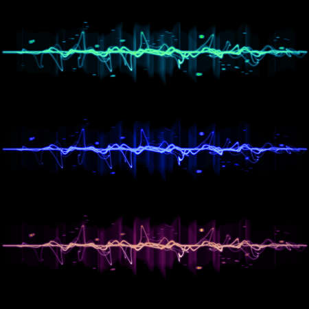 Electric wave pulse collection set 2, in blue, purple, and green photo