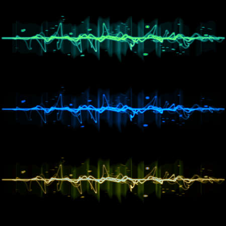 Electric wave pulse collection set 2, in blue, yellow, and green photo