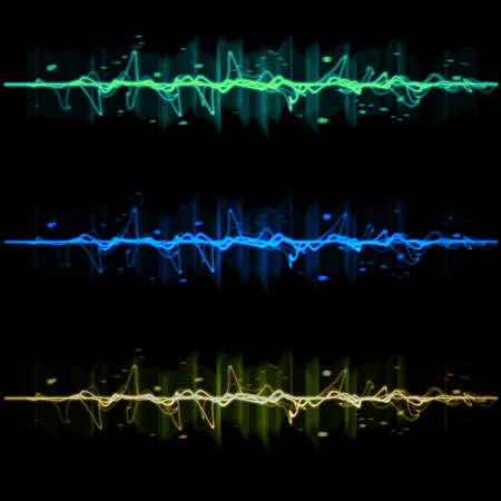 puls: Impuls elektryczny zbiór fala ustaw 2, w kolorze niebieskim, żółtym i zielonym Zdjęcie Seryjne