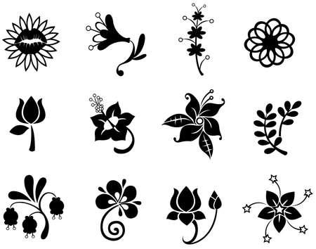 ファンタジーの花シルエット アイコン コレクション セット 2、ベクトルを作成  イラスト・ベクター素材