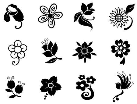 Fantasy flower silhouette icon collection set 1, create by vector Vector
