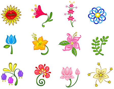 Colorful fantasy flower icon collection set 2, create by vector Vector