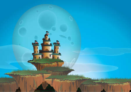 hill distant: Fantasy landscape with castle on a floating island, create by vector