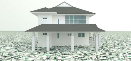 White modern 3D house on the pile of money in isolated background  It is a real estate business  photo