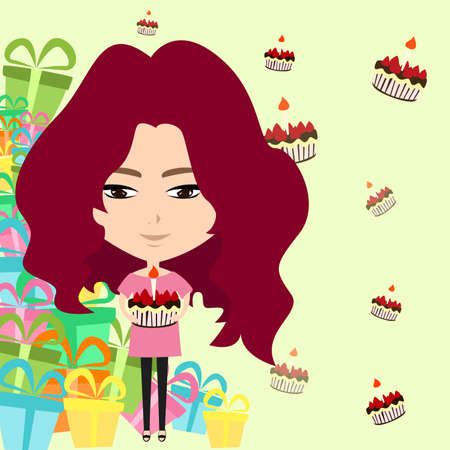 happy birthday girl: Cute cartoon girl in birthday party with many cakes and presents background, create by vector