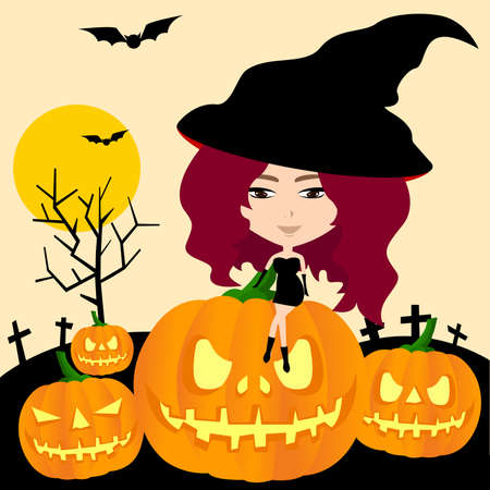 Witch of Halloween in pumpkin graveyard background, create by vector Vector