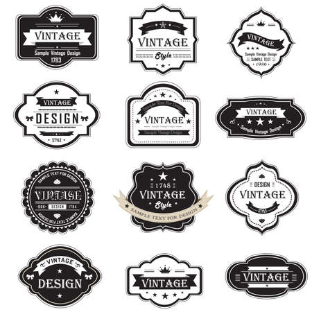 Silhouette vintage and retro badges design with sample text, create by vector